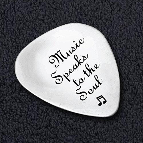 Music Speaks To The Soul - Hand Stamped Custom Guitar Picks - Music Teacher Gift - Music Lover Gifts - Guitar Picks Music Gifts - Cool Gifts - Customized Guitar Picks - Guitar Related Gifts