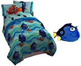 Finding Dory Reversible Comforter, Six piece Bundle, Twin Flat and Fitted Sheets, Pillowcase, and a matching, soft, Blue Dory Plush 12 x 20 inch Pillow, matching Tote