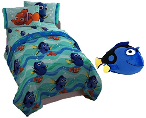 [Finding Dory Reversible Comforter, Six piece Bundle, Twin Flat and Fitted Sheets, Pillowcase, and a matching, soft, Blue Dory Plush 12 x 20 inch Pillow, matching Tote] (Finding Nemo Costume 2t)