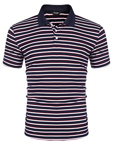 COOFANDY Men's Short Sleeve Polo Shirts Slim Fit Casual Striped Polo T Shirts with Pocket Navy ()
