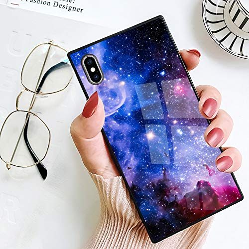 BestCasee Square iPhone Xs Max Case, Cute Starry Sky Galaxy Soft TPU Heavy Duty Shockproof Full-Body Protective Case for iPhone Xs Max 6.5 Inch(2018)