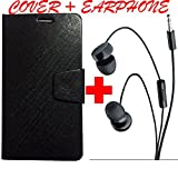 Avzax Premium Leather Flip Case Cover with Magnetic Closure for Micromax Canvas 6 Pro E484 (Black) With In Ear Headphone