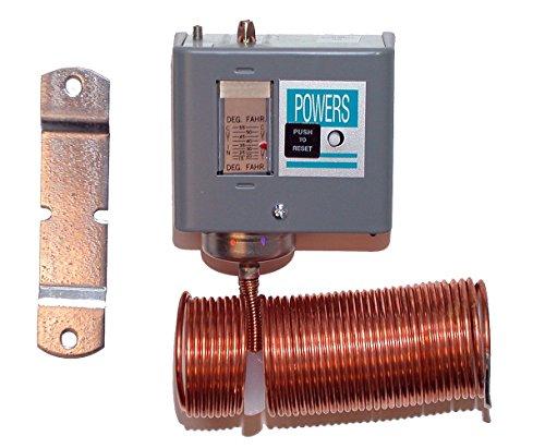Siemens 134-1504 Powers ET 134 Low Temp Detection Line Voltage Thermostat, DPST 4-wire 2-circuit, Manual Reset, Grey