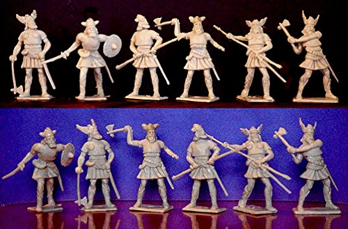 (Cherilea Medieval Viking Figures in 60MM - 12 Toy Soldiers in Light Tan. Works well with MARX 60MM Plastic Toy Soldiers )