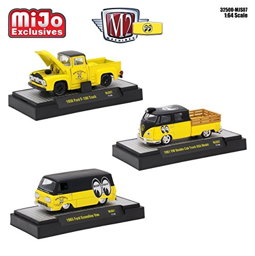 New 1:64 M2 MACHINES COLLECTION - MOONEYE MIJO VW FORD PICKUP ECONOLINE SET OF 3pcs Diecast Model Car By M2 (Ford Econoline Pickup)