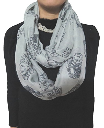 Vintage Print Scarf (Lina & Lily Vintage Camera Print Loop Infinity Scarf for Women Lightweight (Grey))