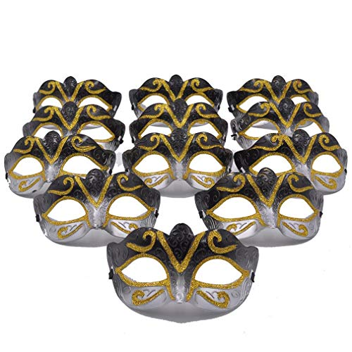 Masquerade Mask Party Favors - 12pcs Pack Mardi Gras Venetian Mask Halloween Novelty Gifts (Black) -