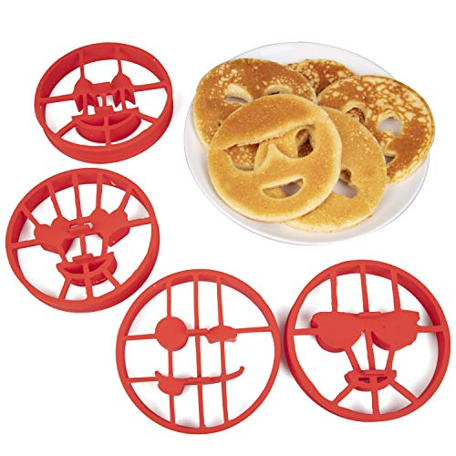 Emoji Pancake Molds and Egg Rings (4 Pack) for Kids AND Adults - Reusable Silicone Smiley Face Maker Doubles as Cookie Maker Set- FDA Approved, BPA Free, Food Safe, Heat Resistant Silicone ()