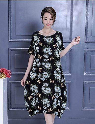Largo Tubino Vestito Da donna-Casual Fantasia floreale Con stampe Rotonda Medio Manica corta Cotone Primavera Estate A vita medio-alta , l