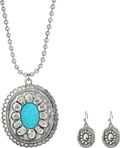 M&F Western Women's Large Oval Concho w/ Turquoise Stone Necklace/Earrings Set Silver One Size