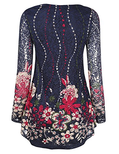 BaiShengGT Women's Long Sleeves Flare Tunic Top, O Neck Floral Printed Pleated Spring Lace Tops for Leggings Flowy Shirt L Blue Floral by BaiShengGT (Image #2)