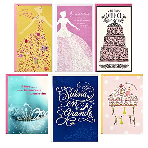 Details About Hallmark Vida Quinceanera Spanish Birthday Cards Assortment 6 With Envelopes