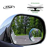 "lebogner Pack Blind Spot Accessories 2"" Round HD Glass Slim Frameless Convex Rear View, Wide Angle 360°Rotate 30°Sway Adjustable Stick On Mirror for All Cars, SUV, and Trucks"