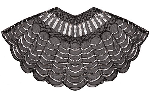 FAIRY COUPLE 20s Beaded Sequin Wrap Evening Shawl Flapper Cape Glitter W20S002(Black Silver) by FAIRY COUPLE
