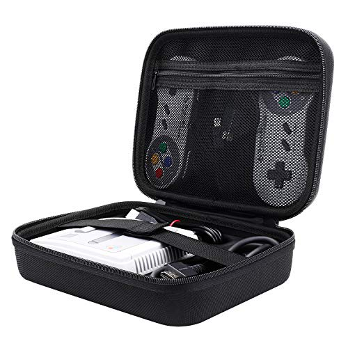 Libier SNES Classic Mini Case, Portable Travel Carrying Case for Nintendo SNES Classic Mini Edition (2017), Fits for 2 Controllers, HDMI Cable and Other Accessories, Black