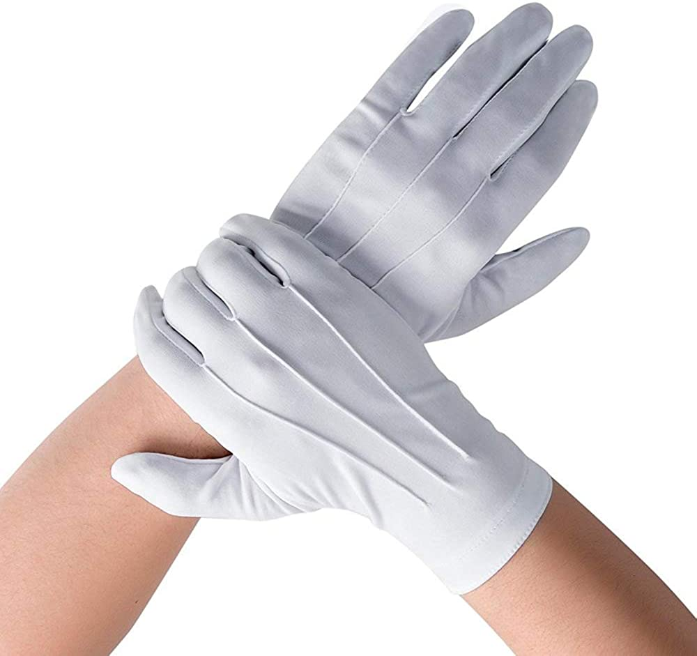 DH Formal White Cotton Gloves Tuxedo Honor Guard Parade Gloves- 20 pairs: Clothing