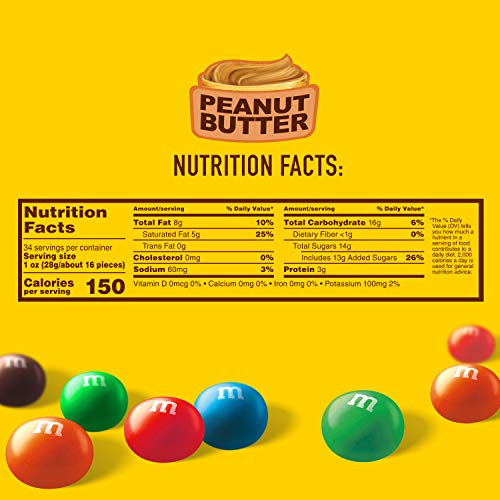 M&M'S Peanut Butter Chocolate Candy Party Size 34-Ounce Bag