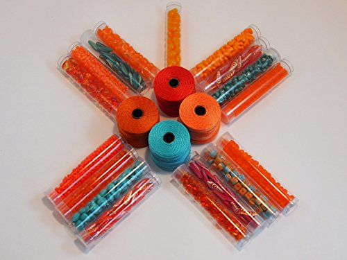 Orange & Turquoise Bead Kit. 75 Laser Etched Daggers, 75 Spade Shaped Beads,100 Fire Opal Czech Glass Beads, 30 Grams Long Magatamas, 30 Grams 8/0 Round, 100 Tee Beads & 4 Spools of Cord.