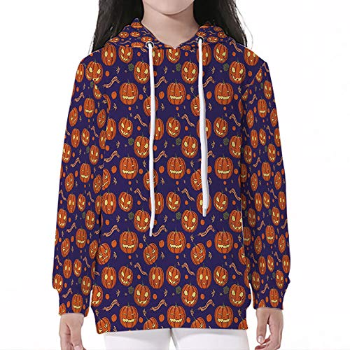 (Young Boys Pullover Hoodies,Halloween,Pumpkins Pattern Different Face)