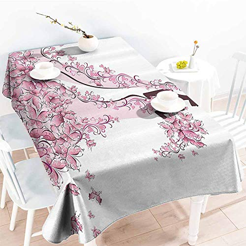 (Homrkey Rectangular Tablecloth Wedding Decorations Flowers Hearts Butterflies on Wedding Dress Bridal Gown Light Pink Maroon White Party W50 xL80 )
