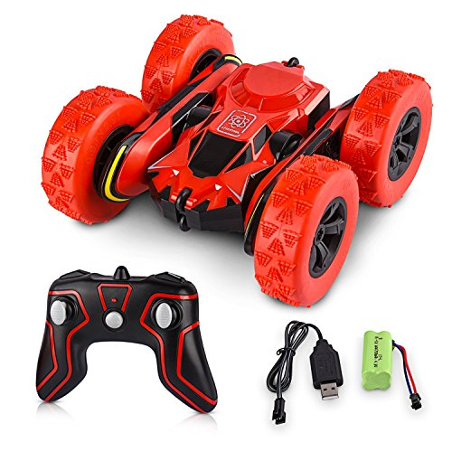 Hobby-Ace Remote Control Car Stunt Rc Car Toys, Electric Rc Cars Gift for Kids Adults, 1/28 2.4Ghz Remote Control Off Road Electric Race Vehicles Double Sided 360 Degree Spins and Flips – Red