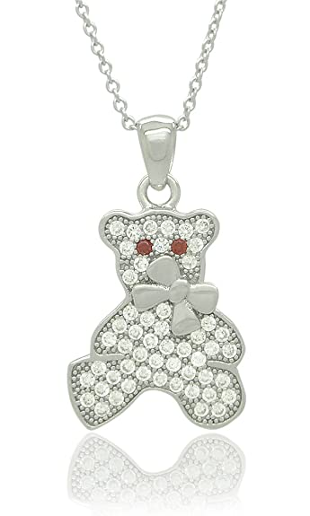 Sterling Silver CZ Bear Pendant Necklaces - Rhodium Plated