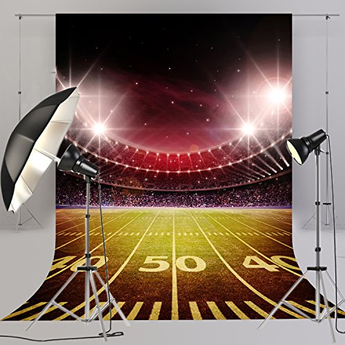 Football Field Background (5x8ft American Football Photography Backdrop Sport Stadium Photo Booth Background for children Studio Props)