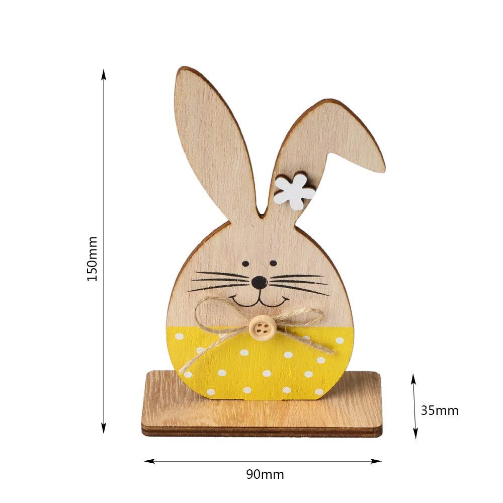 Decdeal Conigli di Ornamenti in Legno,Tag di Bunny Table Stand con Nastro di Uovo di Pasqua,Artigianato in Legno Fai-da-Te per Decorazioni Domestiche Bomboniere Pasquali