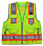 Radians Reflective Vest Class 2 Heavy Woven Two Tone Engineer Hi Viz Yellow Safety Vest 3M 8712 Tape (Small, Yellow)