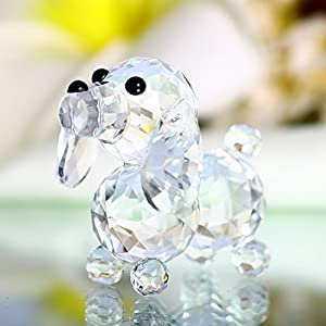 H&D Crystal Cute Dog Figurine Collection Cut Glass Ornament Statue Animal Collectible