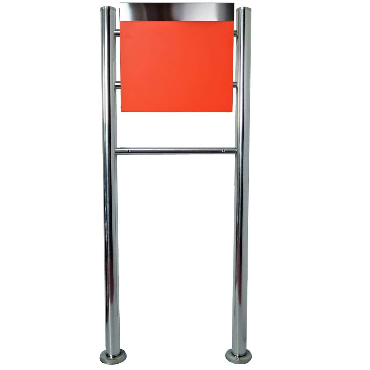郵便ポスト郵便受けおしゃれ北欧風飾りバー付スタンド型鍵付きマグネット付きオレンジ色ポストpm06f-pm332   B07DRBKVB5