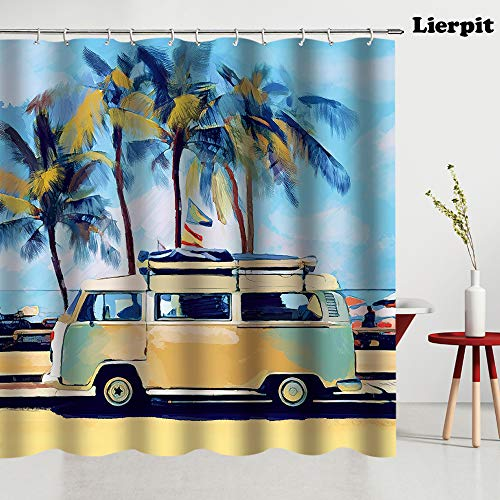 Lierpit Surf Shower Curtain, Hippie Classic Old Bus with Surfboard Freedom Holiday Exotic Life Sketchy Art, Fabric Bathroom Decor Set with Hooks, 69x70 Inches, Yellow Orange Green