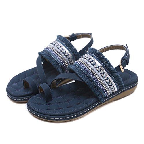 Tongs Casual Plage Chaussures d'été Women foncé Zonlin Sandals Bleu XB6xwA1q