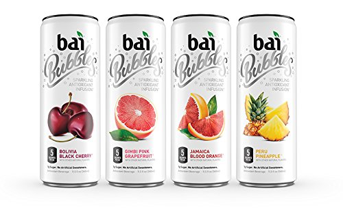 Bai Bubbles Variety Pack, Sparkling Antioxidant Infused Beverage, 11.5 Ounce (Pack of 12) (Packaging May Vary)