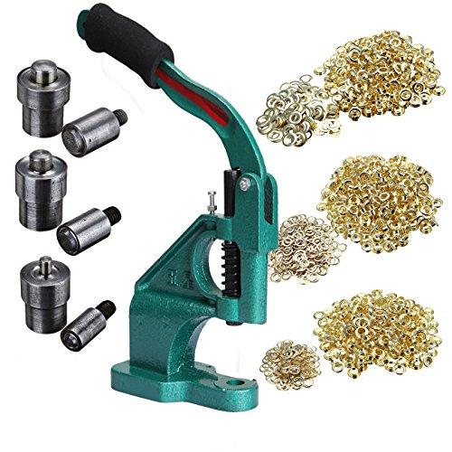 Ridgeyard Industrial Hand Press Grommet Machine with 3 Dies ( #0 #2 #4 ) and 900 Pcs Grommets Eyelet Tool Kit (Industrial Grommet Machine compare prices)