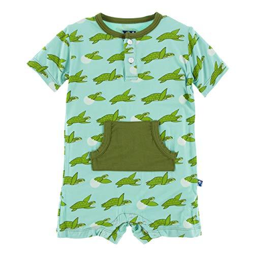 Turtle Kids Pant - Kickee Pants Little Boys Print Short Sleeve Kangaroo Romper - Glass Sea Turtles, 0-3 Months
