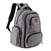 Imyth Travel Diaper Bag Large Capacity Diaper Backpack with 16 Pockets (Linen Gray)