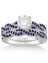 Infinity Twisted Blue Sapphire Bridal Set Setting in Palladium (0.55ct) (No center stone included)