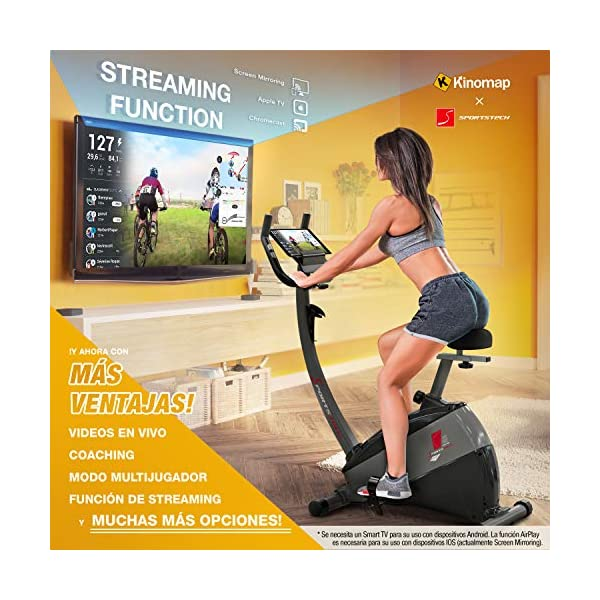 """Sportstech Ergometro ESX500 Marchio di qualità Tedesco- Eventi Video e Multiplayer App+5,5"""" Display, Volano da 12KG, Compatibile Cintura pulsazioni -Cyclette silenziosa 3 spesavip"""