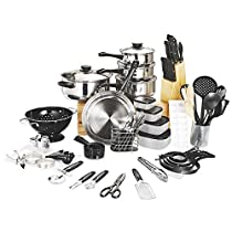 80-Piece Stainless Steel Cookware Set By Buzfi, Professional cooking utensil set, All in One Kitchenware Set, Rustproof and Dishwasher Safe, Induction Ready Cooking Set for Kitchen (Black)