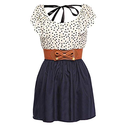 Zeagoo-Womens-Fashion-High-Waist-Casual-Dots-Short-Dress-with-Belt