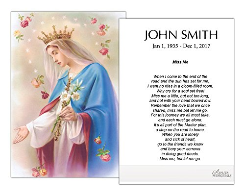 Funeral Memorial Prayer Cards (50 Count) FPC1005EN Virgin Mary (Custom Printed - Select Desired Prayer) ()