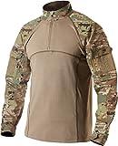 CQR CQ-TOS201-MTN_Large Men's Combat Shirt Tactical 1/4 Zip Assault Military Top Camo EDC TOS201