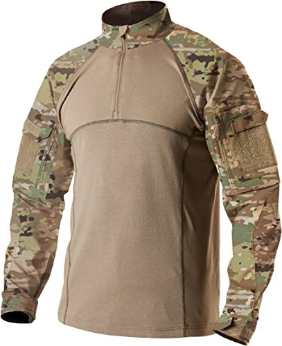 CQR Men's Combat Shirt Tactical 1/4 Zip Assault Military Top Camo EDC, Combat Shirts(tos201) - Multi Terrain, Large