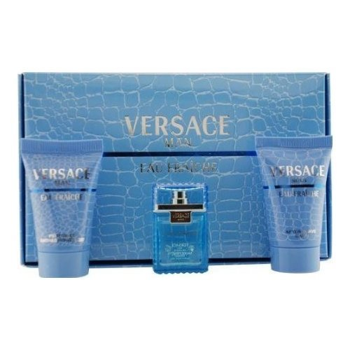 Versace Man Eau Fraiche By Gianni Versace For Men Edt .17 Oz Mini & After Shave Balm .8 Oz Mini & Shower Gel .8 Oz Mini