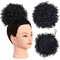"""SOPHIRE 8"""" Afro Kinky Synthetic Hair Bun Puff Drawstring Chignon Curly Donut Ponytail for Women Updo Hair Extension with Clips"""