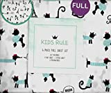 Kids Rule Paris Poodles and Kittens White 4 Piece Full Sheet Set Bonjour Eiffel Tower French Poodle French Dogs and Cats