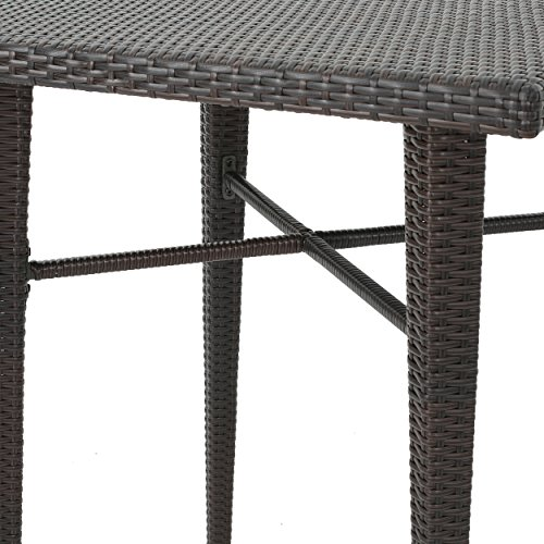 Dom Outdoor 32.5 Inch Square Multibrown Wicker Bar Table by Christopher Knight Home (Image #5)