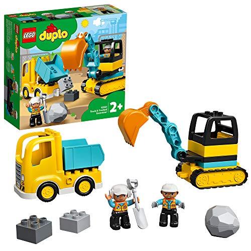 LEGO 10931 DUPLO Bouw Vrachtwagen en Graafmachine met Rupsbanden en Poppetje, Constructiespeelgoed voor Peuters van 2…