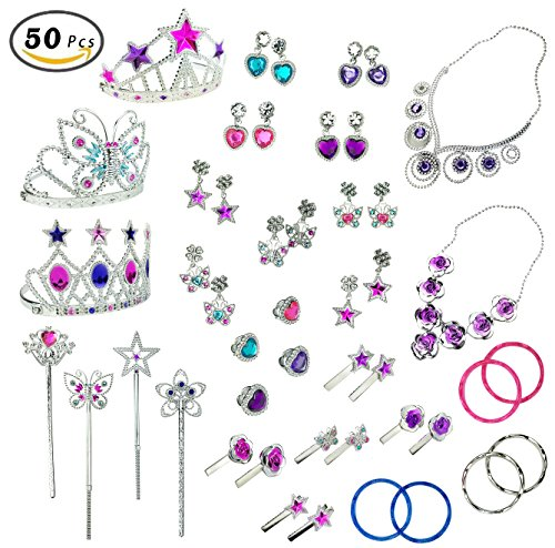 Princess Jewelry Dress Up Accessories Toy Playset for Girls (50 pcs) - Princesses Dress Up
